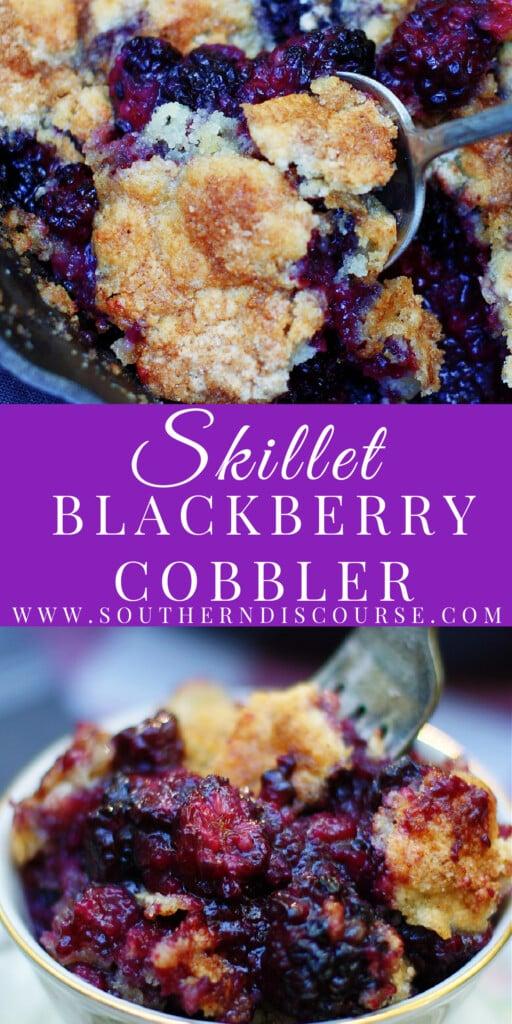 لا يمكن أن يكون Blackberry Cobbler أسهل من وصفة Skillet Blackberry Cobbler هذه.  مع التوت الممتلئ والعصير وقشرة بسيطة من السكريات والهشاشة ، تستخدم هذه الوصفة سحر مقلاة الحديد الزهر لتخبز بشكل مثالي في كل مرة!