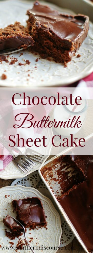 If you like chocolate, I mean REALLY like chocolate this is the chocolate cake for you. Dense, moist, eat-it-in-your-closet-by-yourself-good, this chocolate buttermilk recipe is one of the best I've tried. Perfect for birthdays, family gatherings, church get-togethers, or just because you want chocolate cake!