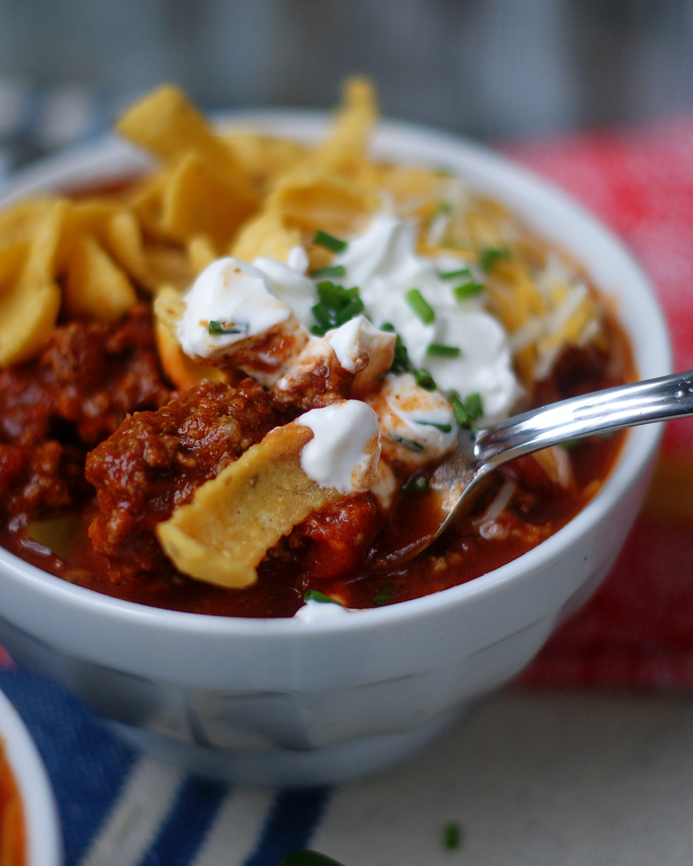 A spoonful of Texas Chili.