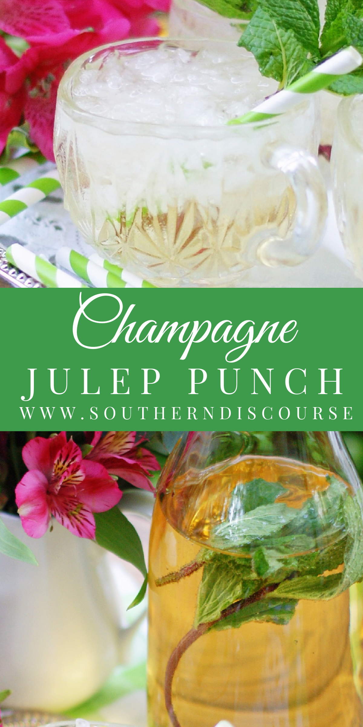 Minty, light, and oh, so refreshing, this Champagne Julep Punch is a non alcoholic variation of the classic mint julep that is perfect for showers, receptions and even Kentucky Derby parties!