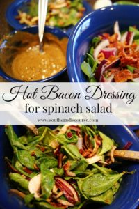 Collage of hot bacon dressing for spinach salad optimized for Pinterest.