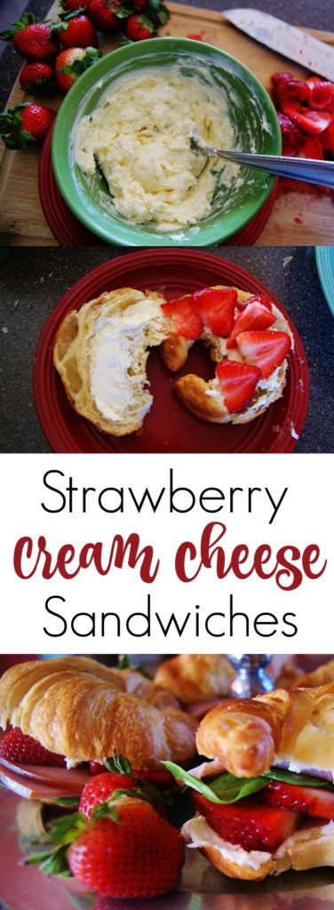 A collage of strawberry cream cheese sandwiches with text overlay that reads Strawberry Cream Cheese Sandwiches.