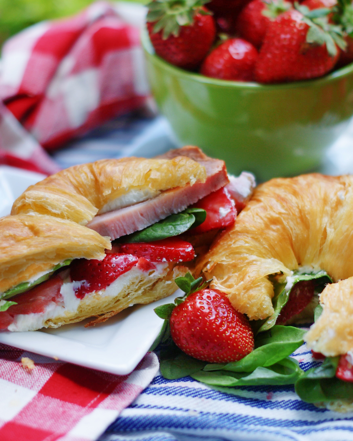 Strawberry Cream Cheese Sandwiches with ham or turkey on croissants for parties and showers.