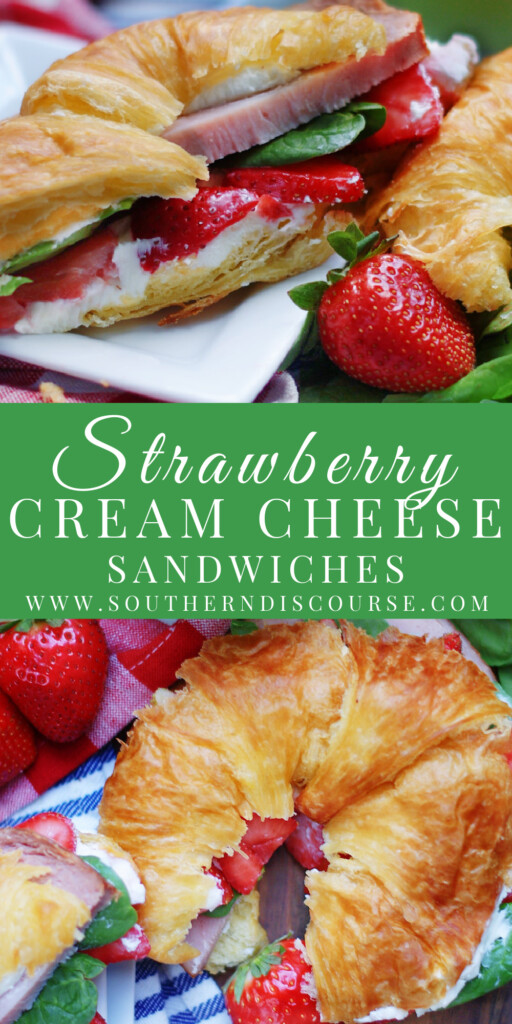 Let's talk gorgeous, easy delicious food that's perfect for parties, showers, potlucks or any get together!  Dreamy cream cheese, ripe strawberries, crisp spinach and salty smoked turkey or ham all piled high on buttery croissants make a delectable little picnic sandwiches that taste even better than they look!