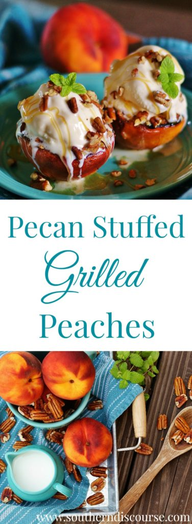 Want the secret to a perfect summer time dessert? Stuffed with an easy pecan crumble, these grilled peaches topped with vanilla ice cream and drizzled with honey are always a perfect seasonal hit!