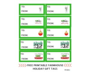 Free Printable Farmhouse Holiday Gift Tags Diane & Dean DIY