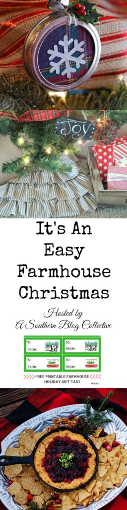 """A Southern Blog Collective has another blog hop for you! This time it is full of Christmas goodies. Check out """"It's An Easy Farmhouse Christmas"""" for mason jar lid ornaments and a cute ruffled tree skirt you can make in a snap, plus free printable gift tags and the recipe for A Southern Discourse's easy Southern Cranberries & Cheddar Skillet Dip."""