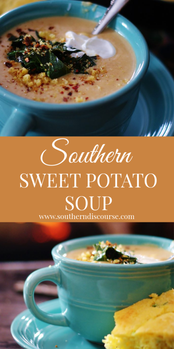 Both savory and just a little sweet, this easy sweet potato soup is one that is sure to make it onto your 'favorite winter suppers' list. #potatosoup #comfortfood #easypotatosoup