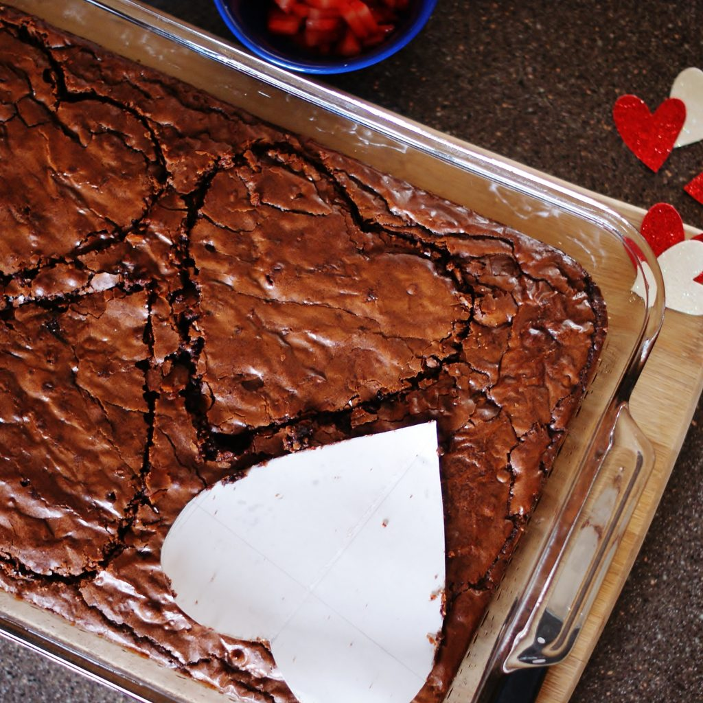 How to make Brownie hearts without a cookie cutter.