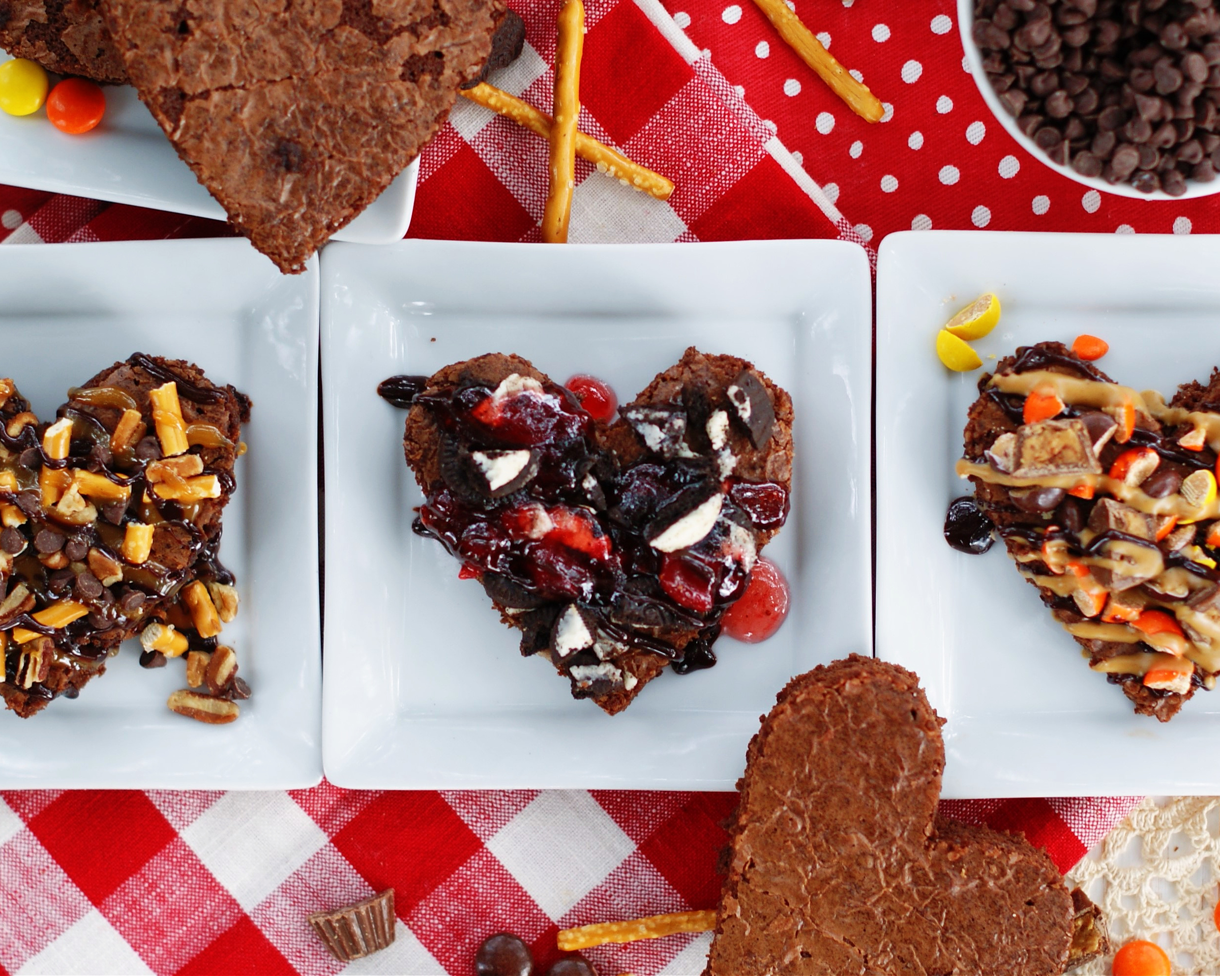 3 heart shaped brownies with toppings for an easy Valentine's Day treat.
