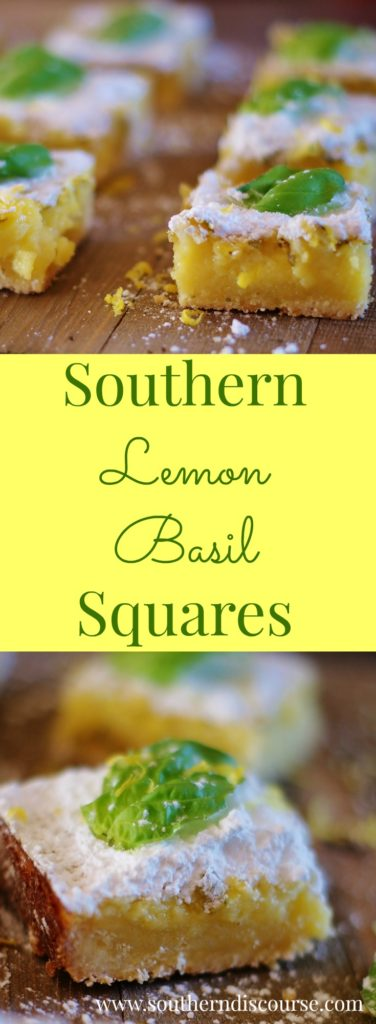 Lemon Basil Squares- an updated version of the classic creamy lemon square recipe that incorporates just a hint of basil.
