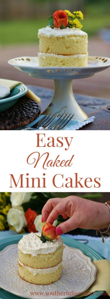 A quick and easy how-to for mini naked cakes. PLUS, a recipe for a light and fluffy white chocolate buttercream. Perfect spring dessert for showers, parties, special dinners.