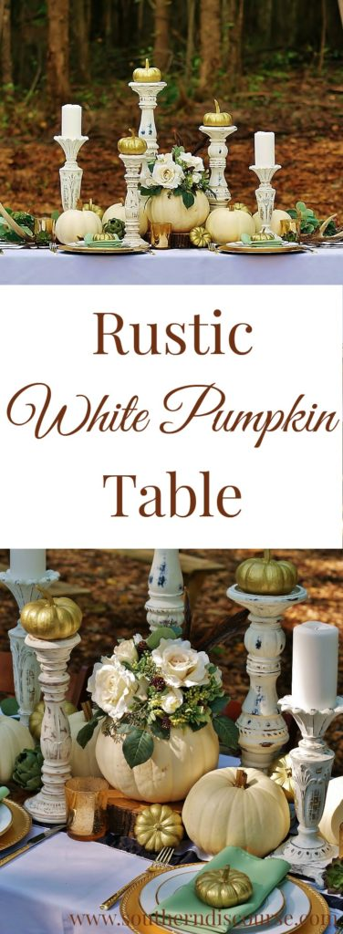 Spend time around our rustic white pumpkin fall table this season for fall table tablescape inspiration. Neutral fall tables can be so elegant with touches of gold. Perfect for a white pumpkin wedding!