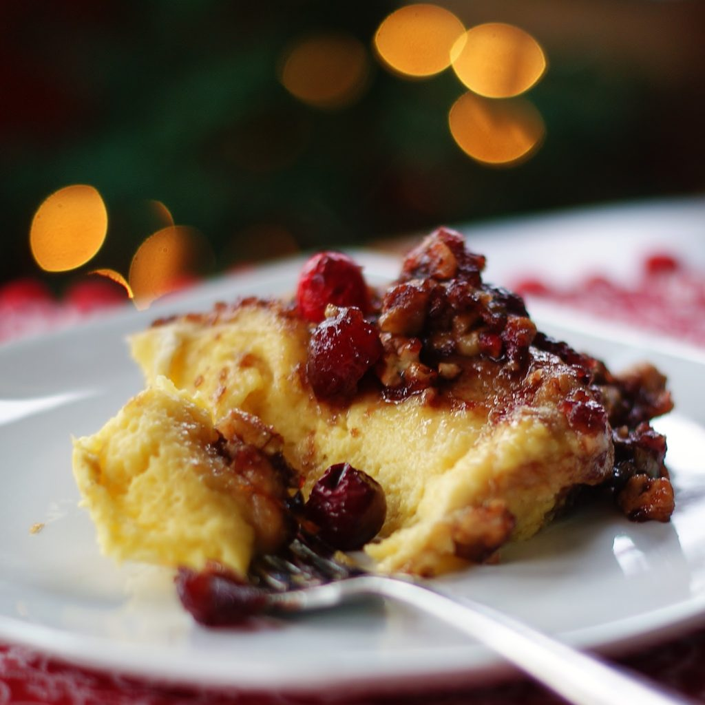 French Toast Bake with Egg Nog & Cranberry Pecan Topping