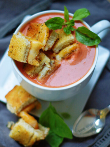 creamy tomato basil soup with grilled cheese croutons