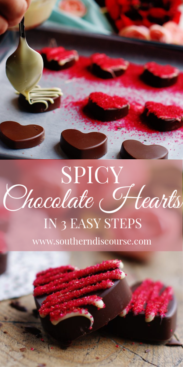 Spicy Chocolate Hearts in 3 Easy Steps - Creamy rich dark chocolate with just a little kick of cinnamon and cayenne. Sweet and spicy. Just like the one you love best. Easy to use silicon mold.  #valentine #valentinesday #chocolatecandy #candy #southerndiscourse #easyrecipe