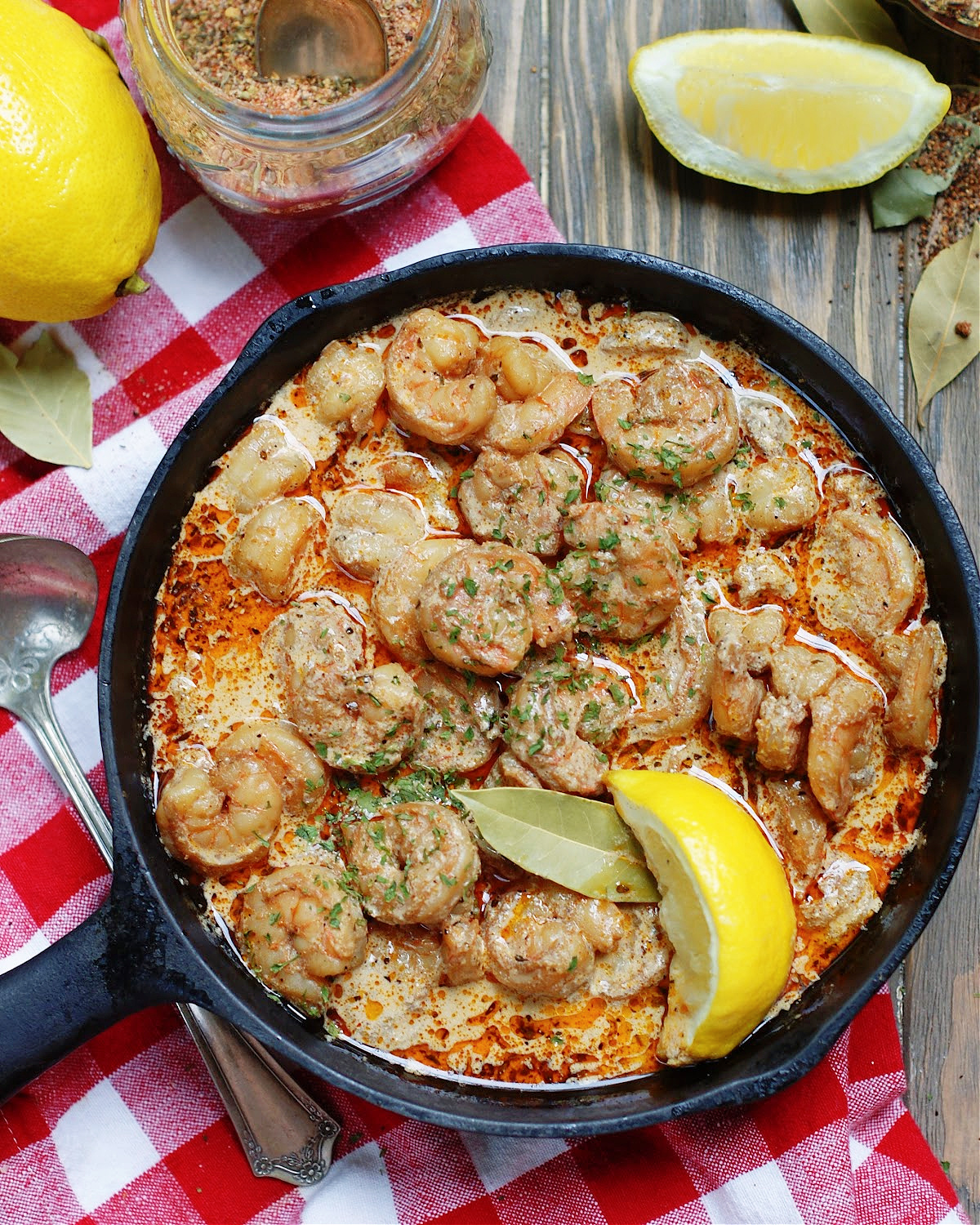 New Orleans BBQ Shrimp with lemon and sauce
