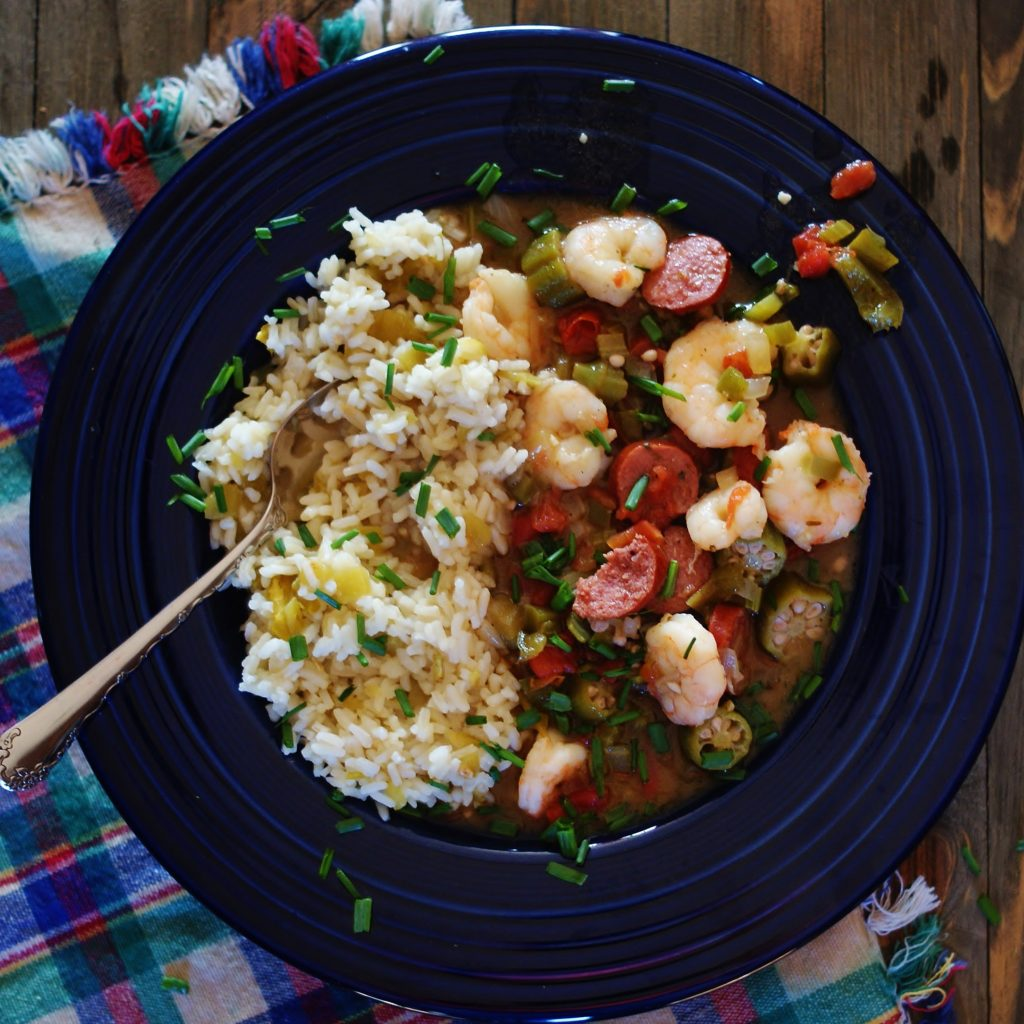 Easy Louisiana Gumbo with Green Chile Rice