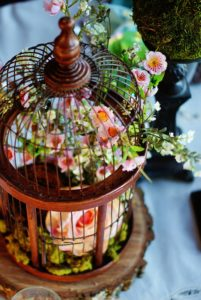 Easter Woodland tablescape centerpiece close up