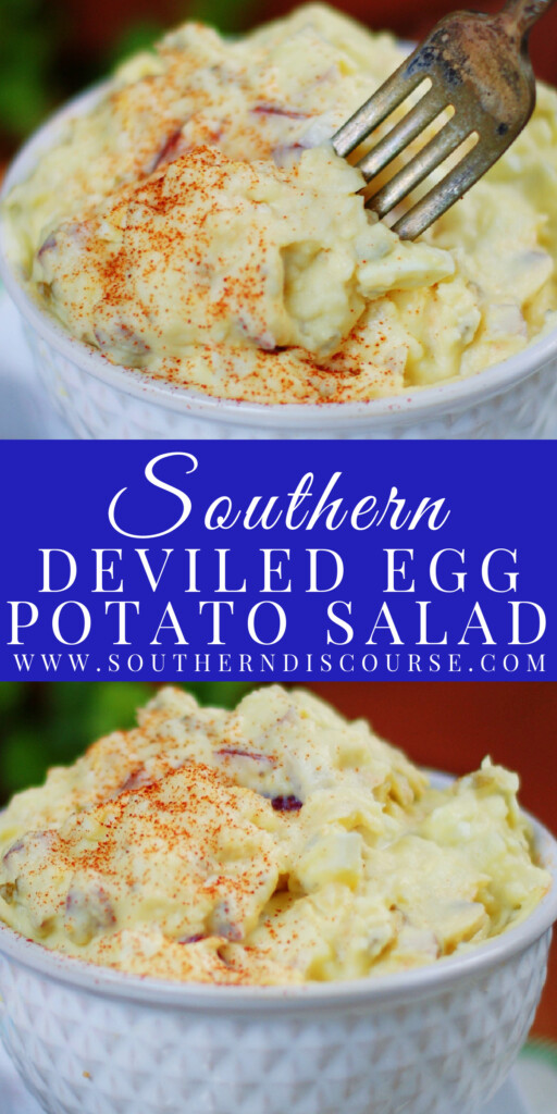Deviled eggs and a basic potato salad contain many of the same ingredients. So combining the two to create one amazingly tangy, creamy delicious cookout dish? Pure genius!
