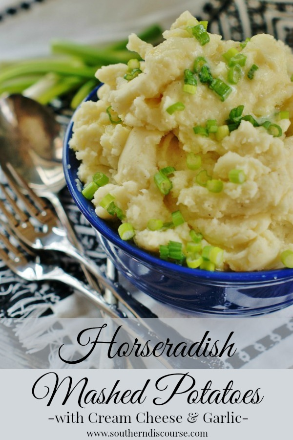 Horseradish Mashed Potatoes, whipped up with cream cheese, butter, and garlic!