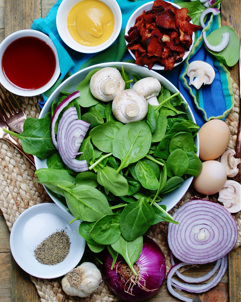 Hot Bacon Dressing and Tossed Spinach Salad Ingredients