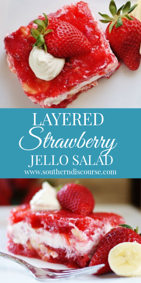 Layered Strawberry Jello Salad with its dreamy sour cream center surrounded by crushed pineapple, bananas, pecans and, of course,  loads of strawberries. #jellosalad #classicjellosalad #jellorecipes #strawberryrecipes #jellosaladwithsourcream