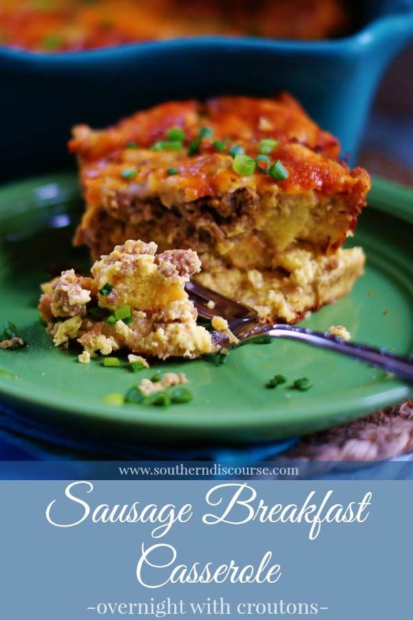Overnight Sausage Breakfast Casserole with Croutons is full of eggs, cream, mushroom soup, cheese, and sausage. Perfect for breakfast, brunch, or supper!