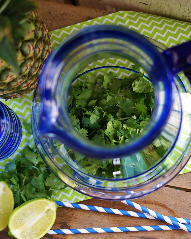 An aerial view of a blue-lined Mexican glass pitcher filled with a Cup of chopped cilantro. Blue and white striped party straws, halved limes, and lime & white cilantro tea towel are in the background.