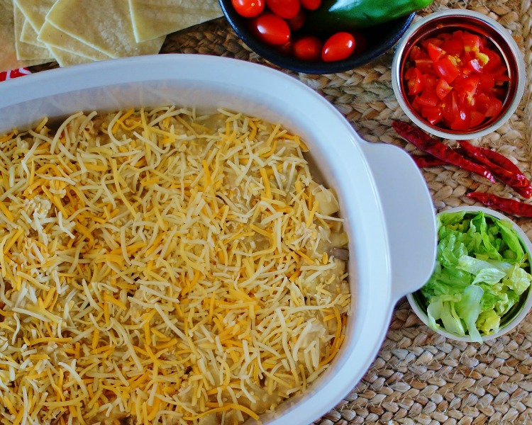 Large green chile chicken enchilada casserole.