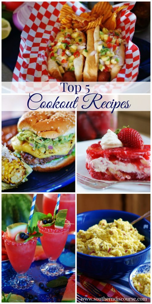 5 trending recipes for Memorial Day and Summer Cookouts. Grilling | Hamburgers | Hot Dogs | Pineapple | Jello Salad | Potato Salad