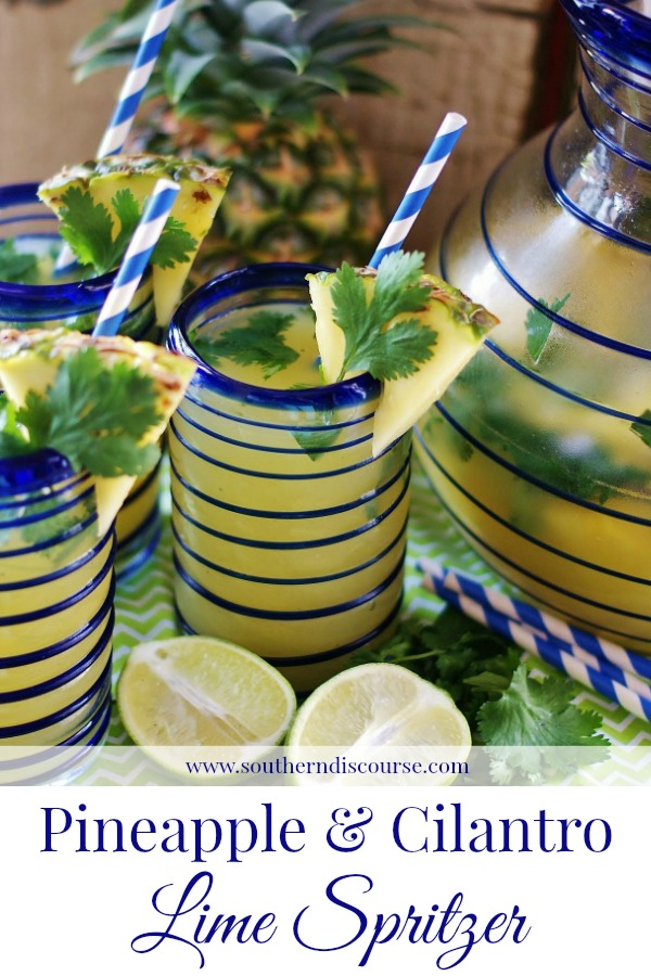 Pineapple Cilantro Lime Spritzer is refreshing in a way that only an herb infused limeade can be. Perfect for weekends, cookoouts, and poolside. Summer drink.