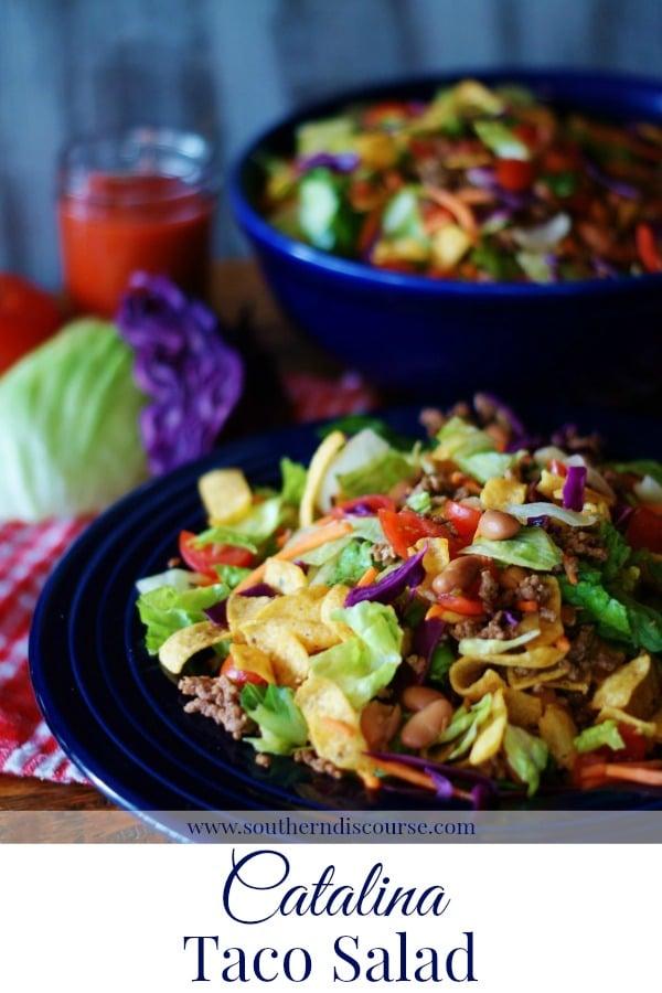 Catalina Taco Salad, sometimes also called Catalina Frito Salad is a perfect summer meal! #catalinadressing #salad #tacosalad #summermenu #cornchips #summerrecipe