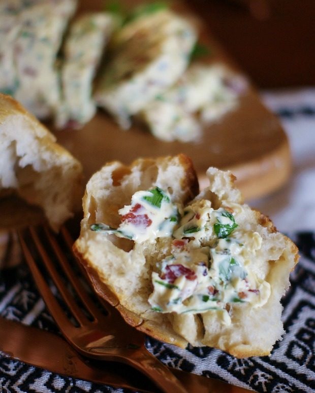 Herbed steak butter with goat cheese & bacon spread on sour dough bread.