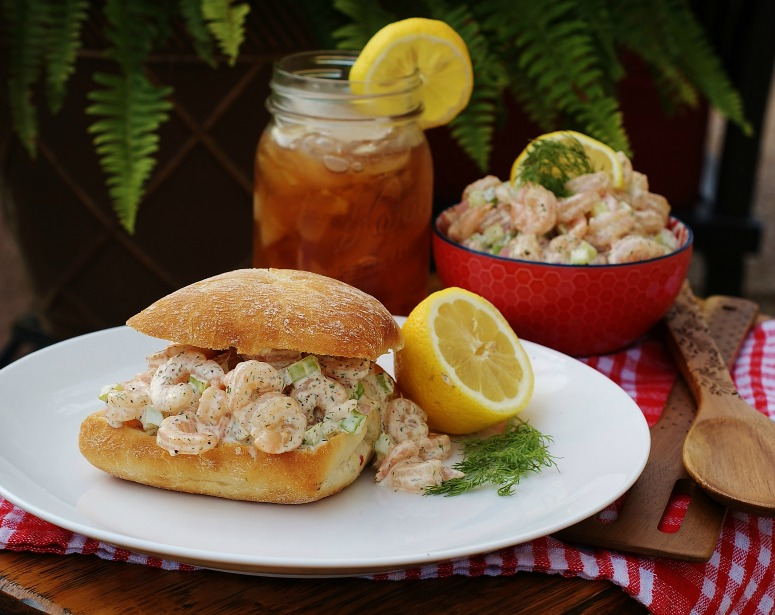 Like a lobster roll, this southern version is made with shrimp salad.