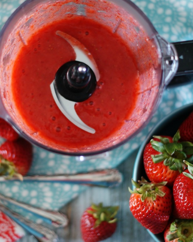Purreed strawberries, the first step in making a great strawberry bisque.