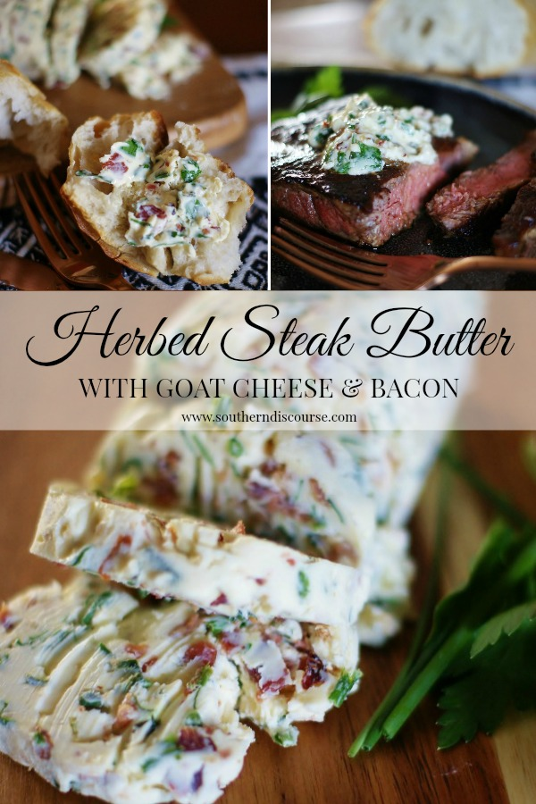 Herbed Steak Butter with Goat Cheese & Bacon is gorgeous blend of softened butter, goat cheese, parsley, basil, chives, garlic, &, of course, bacon! So rich and creamy and full of flavor. Fantastic on steak, breads, and potatoes. #grilling #compoundbutter #herbedbutter #steak