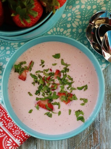 Chilled strawberry bisque, or soup.