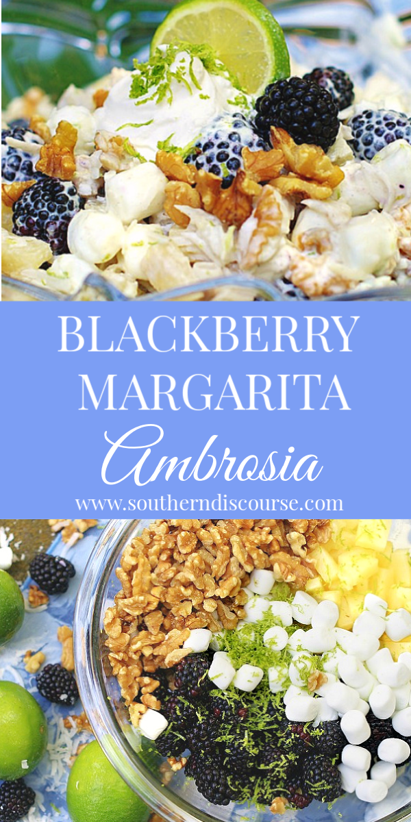 Easy summer ambrosia with a tropical flair. Filled with coconut, pineapple, blackberries and lime all swathed in clouds of cool whip, lime yogurt and mini marshmallows. #fruitsaladrecipes #ambrosiarecipes #fluffrecipes