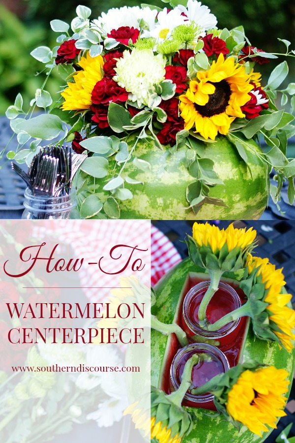 An easy how-to for creating a watermelon centerpiece. Create an easy arrangement using a watermelon as a vase for fun summer parties, showers, birthdays, anniversaries, Labor Day or Memorial Day celebrations, family reunions, or just spice up your cookout!
