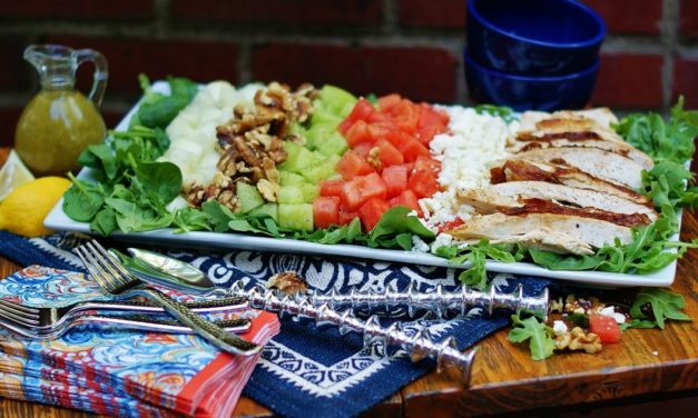 Easy Melon Salad with Rotisserie Chicken & Garlic Vinaigrette