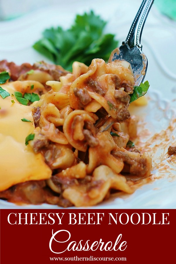 Cheesy Beef Noodle Casserole with creamy tomato mushroom