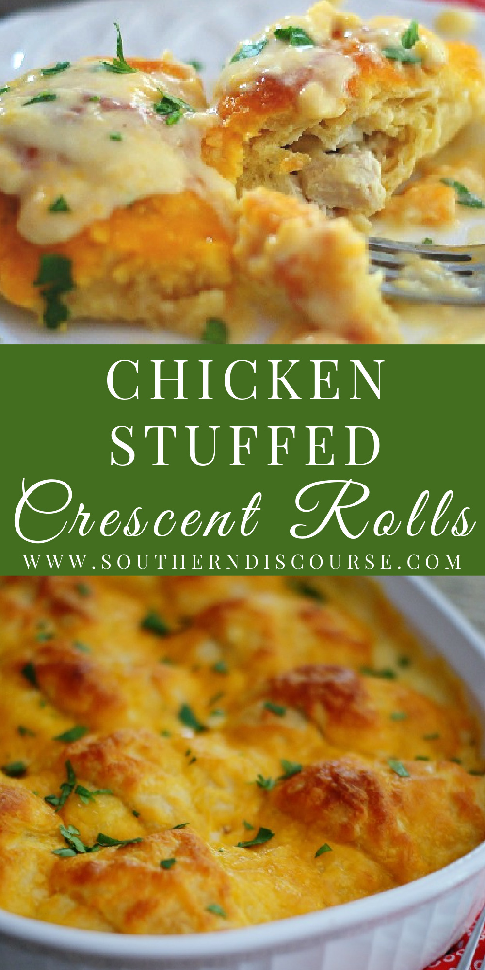 This recipe speaks for itself- buttery, flaky crescent rolls, stuffed with a cream cheese and chicken filling and smothered in a cheesy cream sauce. In short, Chicken Stuffed Crescent Rolls are quite simply divine.