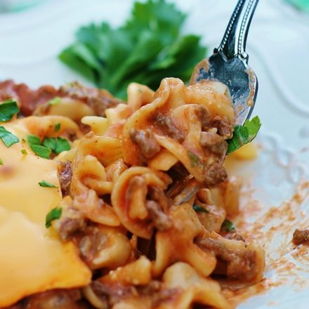 Cheesy Beef Noodle Casserole on a fork.