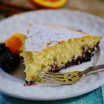 Slice of Buttermilk Blackberry Jam Cake