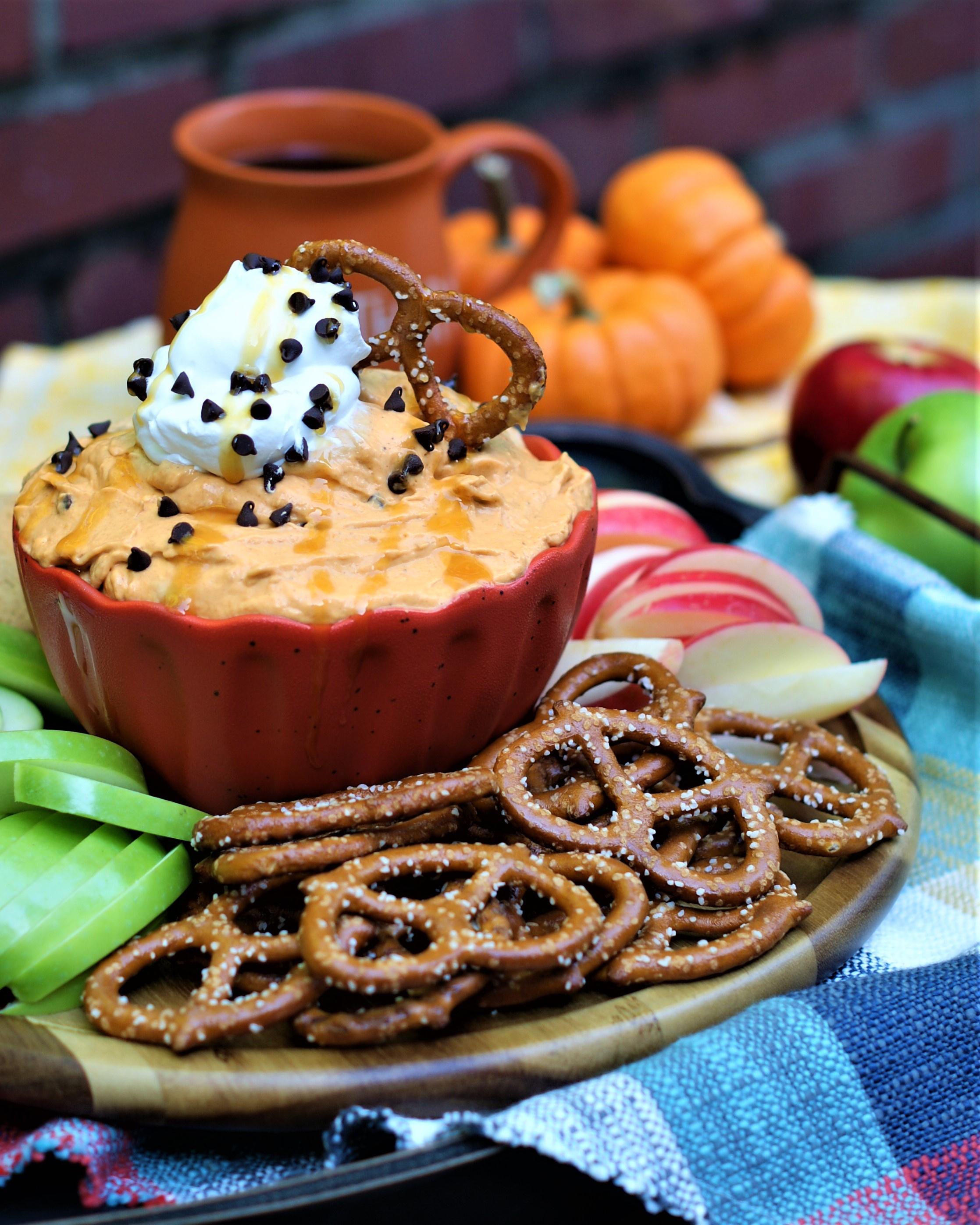 Pumpkin butterscotch Dip on a party table.