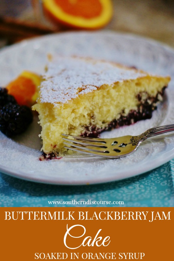 Orange and cinnamon infused simple syrup give this Old Fashioned Buttermilk Blackberry Jam Cake a rich, aromatic flavor while reminding us of days past. Cooked right up in a cast iron skillet, this buttermilk blackberry cake is perfect for holidays, brunches and anytime in between!