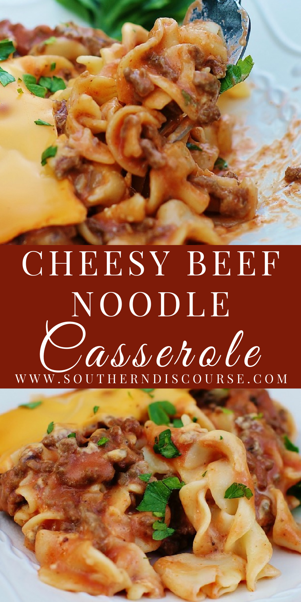 All I do know is that the layers of seasoned beef, loads of cheese and egg noodles all covered in a creamy tomato mushroom sauce make this Cheesy Beef Noodle Casserole a winner every single time it hits the table.