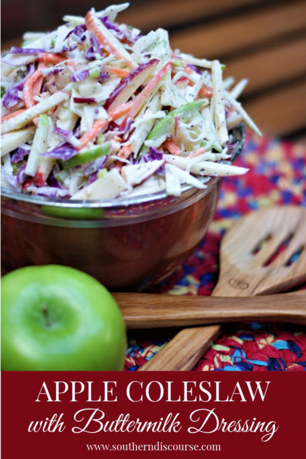 Red and green apples, green and purple cabbage, and carrots made a crisp slaw that's perfect for apple season. Add the homemade buttermilk dressing with Parmesan, and it's a match made in heaven. Definitely the lighter side of fall food!