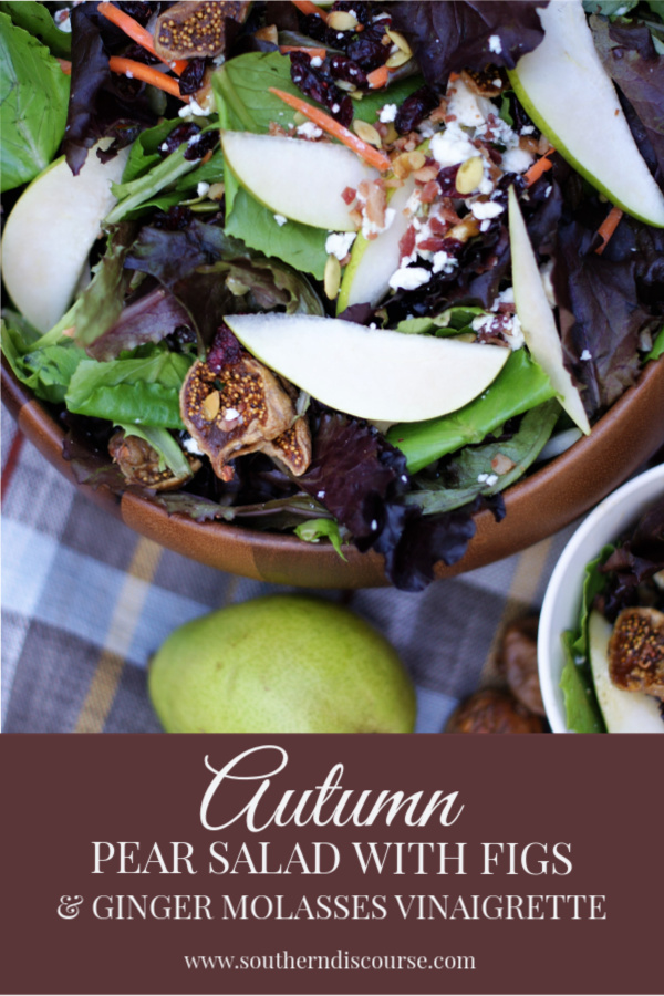 An easy autumn salad with pears and figs and a simple ginger molasses vinaigrette. Pears, figs, dried cranberries, bacon, toasted pumpkin seeds, and a little bleu cheese make this seasonal salad perfect for Thanksgiving, as an easy weeknight meal or go-to lunch. All the rich flavors of the fall in one dish!